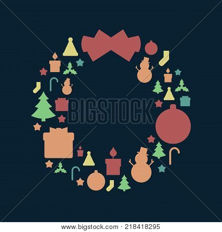Round Christmas Wreath-Shaped Icon Pattern in Retro Style. Vintage Faded Colors, Dark Background.
