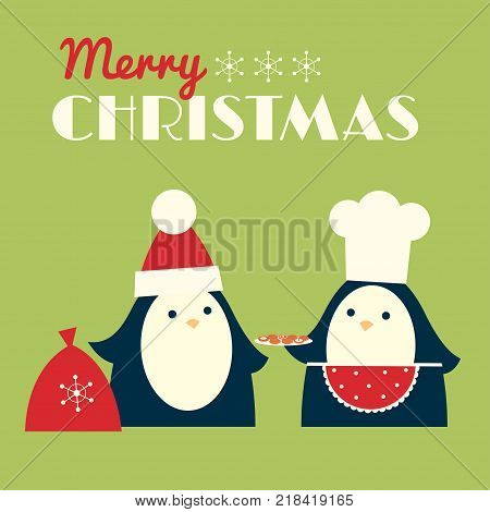 Christmas vector illustration. Penguin in a chef hat and red apron is offering cookies to another penguin in a Santa hat. Square format. Light green background.