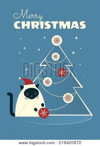 Vector illustration. Siamese cat in a Santa hat sitting near Christmas tree and playing with a bauble. Blue-gray background with stars. Vertical format.