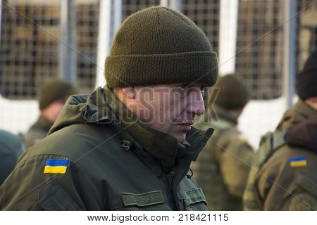 Kyiv, Ukraine - 9 September, 2017 National Guard soldiers guarding the order during the demonstration.