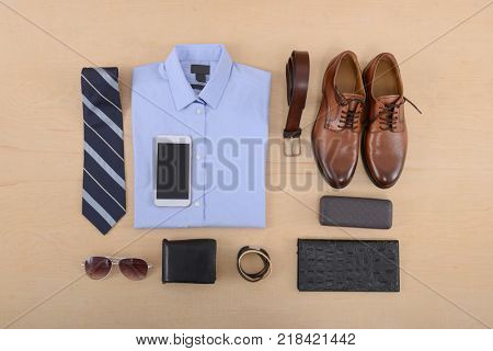 Men's mans fashion and accessories-wooden background