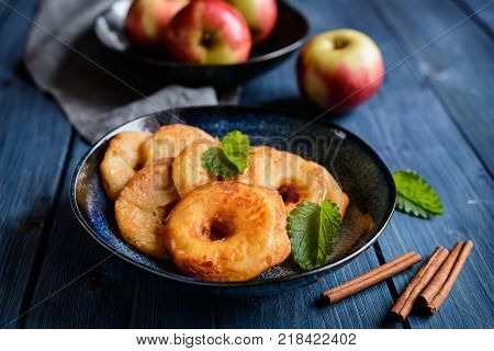 Fried Apple Rings In A Batter