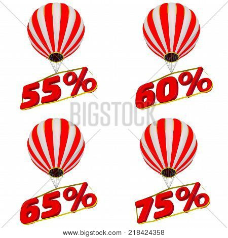 Percentage fly in a balloon. Set of 55;60;65;75 percentage flies on a hot air balloon. Isolated. 3D Illustration