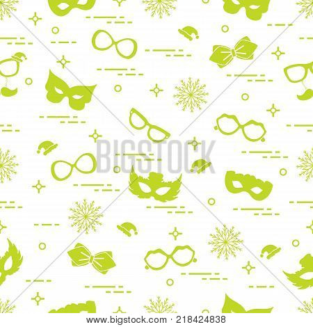 Seamless pattern of different carnival decorations: masks, christmas hats, glasses, bow tie. Carnival festive concept. Costume for a party.