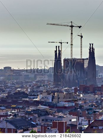 BARCELONA SPAIN - August 20 2012: La Sagrada Familia - cathedral designed by Antoni Gaudi landmark in Barcelona Catalonia Spain which is being build since 1882 and is not finished.