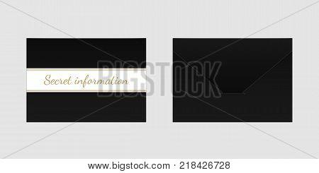 Decorative Black Envelope. Vector Mock up of Envelop with Inscription Secret Information Backside View and Frontside View
