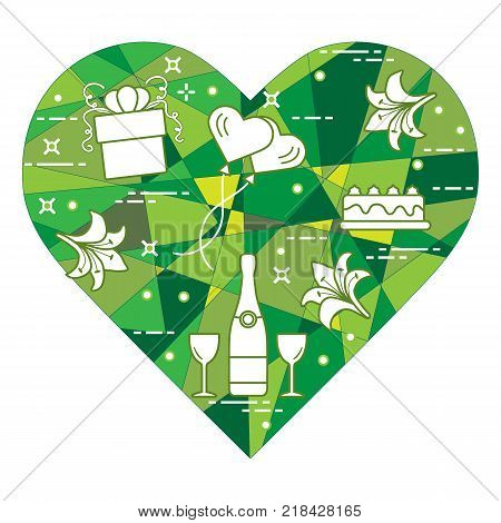 Mosaic heart with gift, balloons, cake, lily, stemware, bottle. Greeting card Valentine's Day. Design for banner, poster or print.