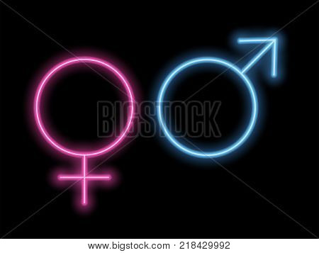Gender Symbols in Neon Style. Neon Silhouette of Pink and Blue Gender Signs Isolated on the Black Background with Backlight