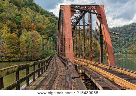Railroad Trestle In The New River Gorge At Hawks Nest State Park In West Virginia