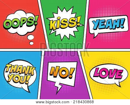 Retro comic speech bubbles set on colorful background. Expression text KISS, THANK YOU, NO, YEAH, OOPS, LOVE. Vector illustration, vintage design, pop art style.