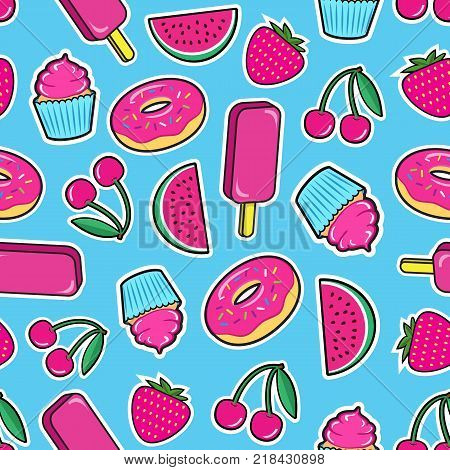 Cute seamless pattern with colorful patches. Stickers of ice cream, cherry, strawberry, watermelon, donut, cupcake etc on blue background. Fashion cool patches and stickers. Vector illustration.