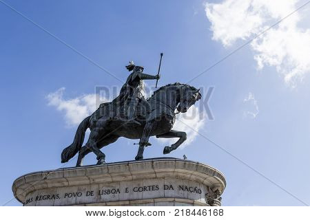 LISBON, PORTUGAL - September 25, 2017: The equestrian statue of King Dom Joao I located in Figueira Square in Lisbon Portugal.
