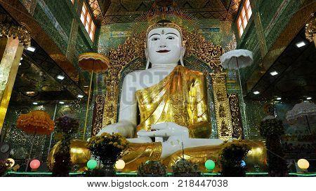 Shrine with Buddha Statue in Soon U Pon Nya Shin Paya, Sagaing, Mandalay, Myanmar. (Burma)