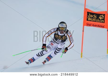 VAL GARDENA, ITALY - DECEMBER 14: Thomas Dressen of Germany races down the Saslong course during the Audi FIS Alpine Ski World Cup Men's Downhill training on December 14 2017