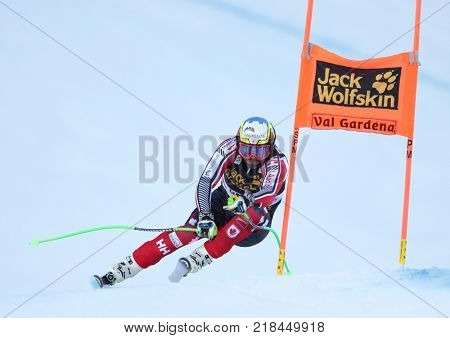 VAL GARDENA, ITALY - DECEMBER 14: Manuel Osborne-Paradis of Canada races down the Saslong course during the Audi FIS Alpine Ski World Cup Men's Downhill training on December 14 2017
