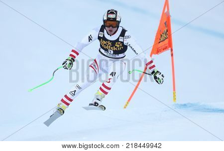 VAL GARDENA, ITALY - DECEMBER 14: Hannes Reichelt of Austria races down the Saslong course during the Audi FIS Alpine Ski World Cup Men's Downhill training on December 14 2017