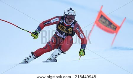 VAL GARDENA, ITALY - DECEMBER 14: Aleksander Aamodt Kilde of Norway races down the Saslong course during the Audi FIS Alpine Ski World Cup Men's Downhill training on December 14 2017