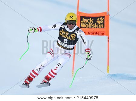 VAL GARDENA, ITALY - DECEMBER 14: Max Franz of Austria races down the Saslong course during the Audi FIS Alpine Ski World Cup Men's Downhill training on December 14 2017