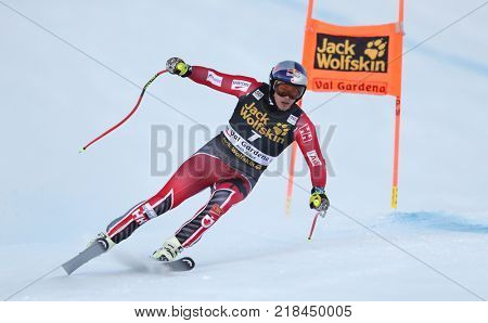 VAL GARDENA, ITALY - DECEMBER 14: Erik Guay of Canada races down the Saslong course during the Audi FIS Alpine Ski World Cup Men's Downhill training on December 14 2017