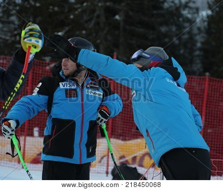 VAL GARDENA, ITALY - DECEMBER 14:  Coach Scotty Venis from Team USA and Andrew Weibrecht of The USA during pre race course inspection for the Saslong course during the Audi FIS Alpine Ski World Cup