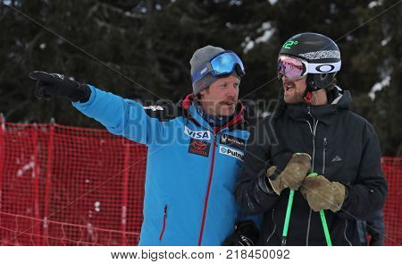 VAL GARDENA, ITALY - DECEMBER 14:  Coach Scotty Venis from Team USA and Wiley Maple of The USA during pre race course inspection for the Saslong course during the Audi FIS Alpine Ski World Cup