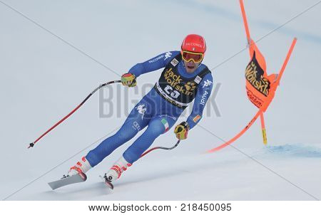 VAL GARDENA, ITALY - DECEMBER 14: Christof Innerhofer of Italy races down the Saslong course during the Audi FIS Alpine Ski World Cup Men's Downhill training on December 14 2017