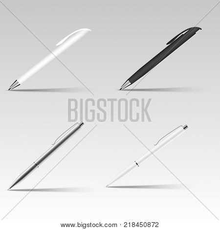 Set of different ball pens . Vector illustration with soft shadow