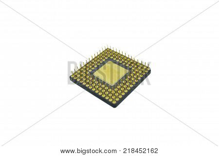 closeup old cpu processor computer isolated on White background
