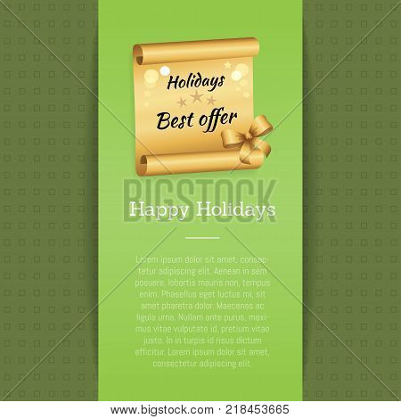 Happy holidays best offer inscription on golden paper scroll parchment manuscript scrolled document vector illustration isolated banner with text