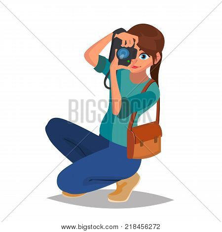 Photographer Girl Vector. Photographic Camera. Reporter, Journalist, Blogger Paparazzi Cartoon Character Illustration