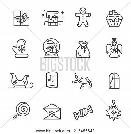 Set of Christmas theme icons isolated on white background. Vector illustration with flying angel, sweet pancake and snowy chimney drawn in black