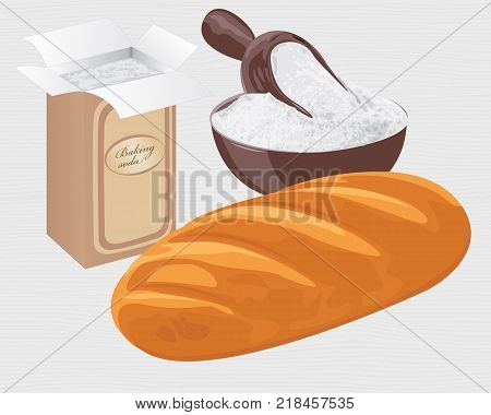 Baking soda in a paper bag, bowl and a loaf of wheat bread vector illustration