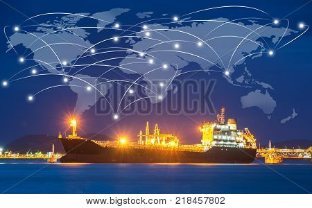 Container ship in import,export port morning light of loading ship yard use for freight and cargo shipping vessel transport