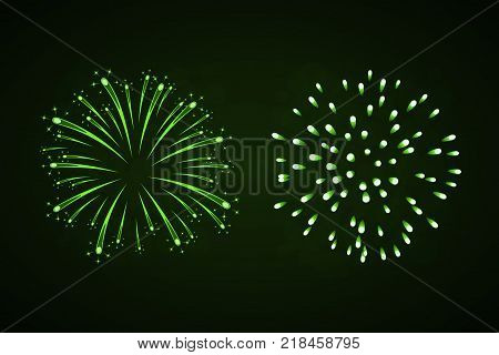 Beautiful green fireworks set. Bright fireworks isolated black background. Light green decoration fireworks for Christmas New Year celebration holiday festival birthday card Vector illustration