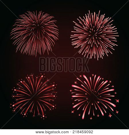 Beautiful red fireworks set. Bright fireworks isolated black background. Light red decoration fireworks for Christmas New Year celebration holiday festival birthday card Vector illustration