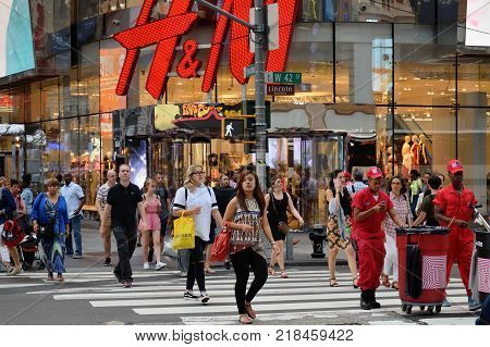 NEW YORK CITY - AUG. 26: Unidentified people on street in Manhattan on August 26 2017 in New York City NY. Manhattan is the most densely populated borough of New York City.