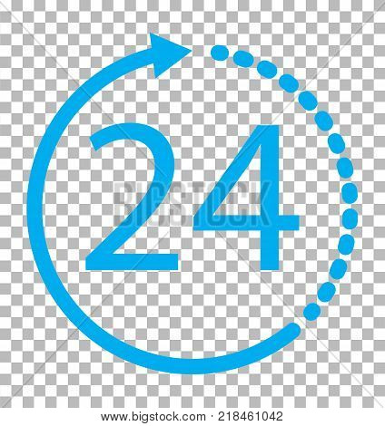 24 hours icon on transparent background. 24 hours service sign. 24 hours symbol.