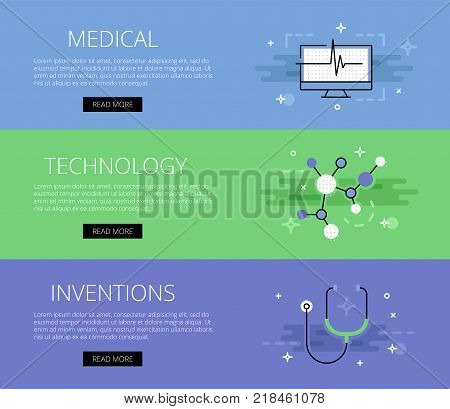 Vector illustration of green and blue colored medical technology inventions web banner.