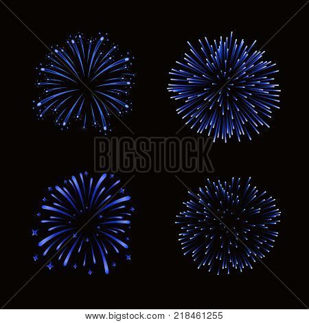 Beautiful blue fireworks set. Bright fireworks isolated black background. Light blue decoration fireworks for Christmas New Year celebration holiday festival birthday card Vector illustration