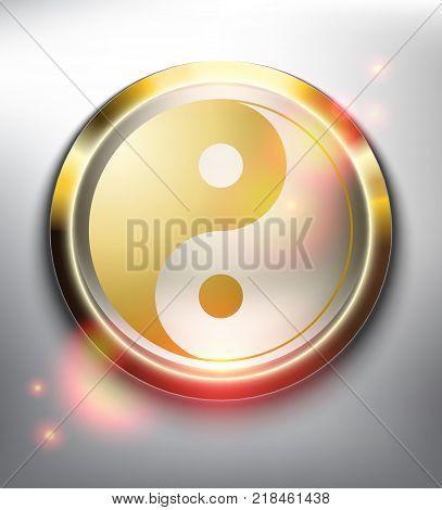 Yin Yang Symbol in golden frame. Sacred geometry. Isolated on the white background. Vector illustration. Eps10.
