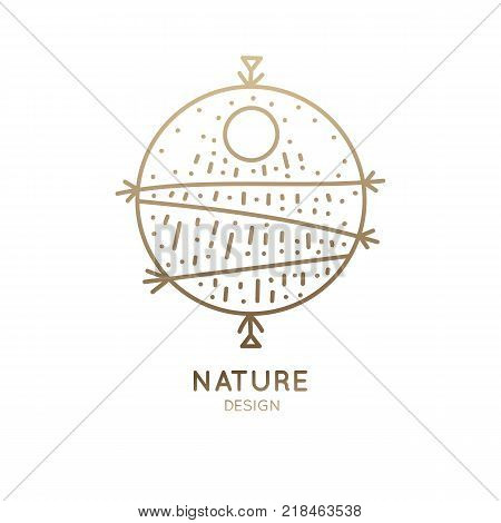 Vector logo of nature abstract elements. Round sacred symbol. Outline icon of landscape, sun, field, rain - business emblems, badge for a travel, holistic, zen, ecology concepts, health, yoga Center