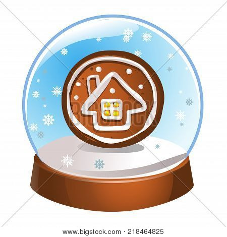 Snow globe with a winter house inside isolated on white background. Christmas magic ball. Snowglobe vector illustration. Winter in glass ball crystal dome icon