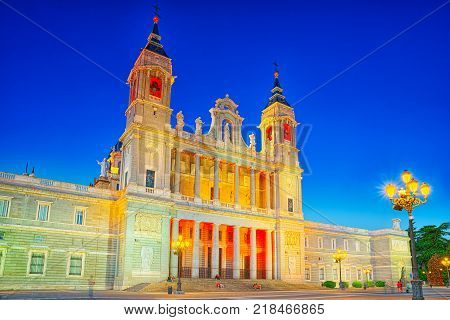 Almudena Cathedral (Catedral de Santa Maria la Real de la Almudena)on the opposite side of the Royal Palace in Madrid. Spain.