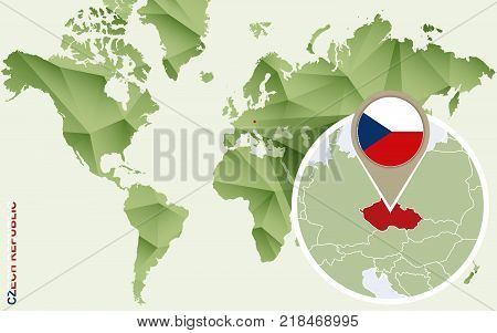 Infographic for Czech Republic detailed map of Czech Republic with flag. Vector Info graphic green map.