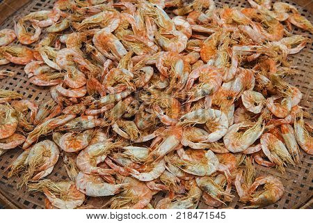 Dried shrimp are shrimp that have been sun-dried and shrunk to a thumbnail size. They are used in many Asian cuisines, imparting a unique umami taste. A handful of shrimp is generally used for dishes.