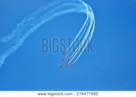 Melbourne Australia - March 20 2016: Aerobatic group formation at blue sky during Air Show at Formula 1 Australian Grand Prix 2016.