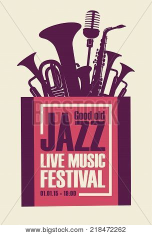 Vector poster for a jazz festival live music with saxophone wind instruments and a microphone in retro style on white background
