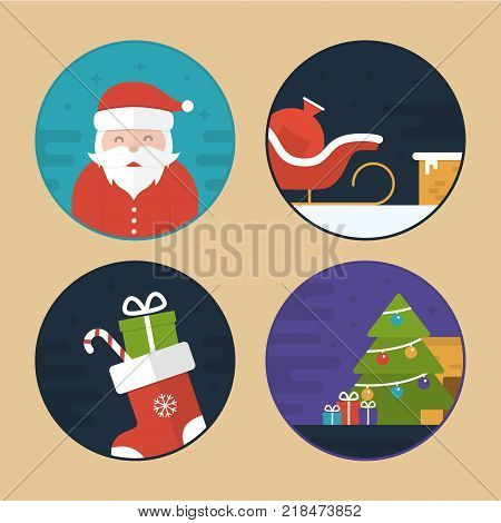 Flat Vector Illustration Set of Different Christmas Scenes. Santa Claus. Sledge, Gift Bag, Sock, Christmas Tree and Gifts