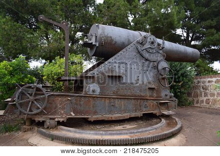 Ancient Cannon arms weighed of artillery of the army