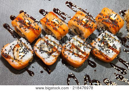 Close up of japanese sushi on wooden board